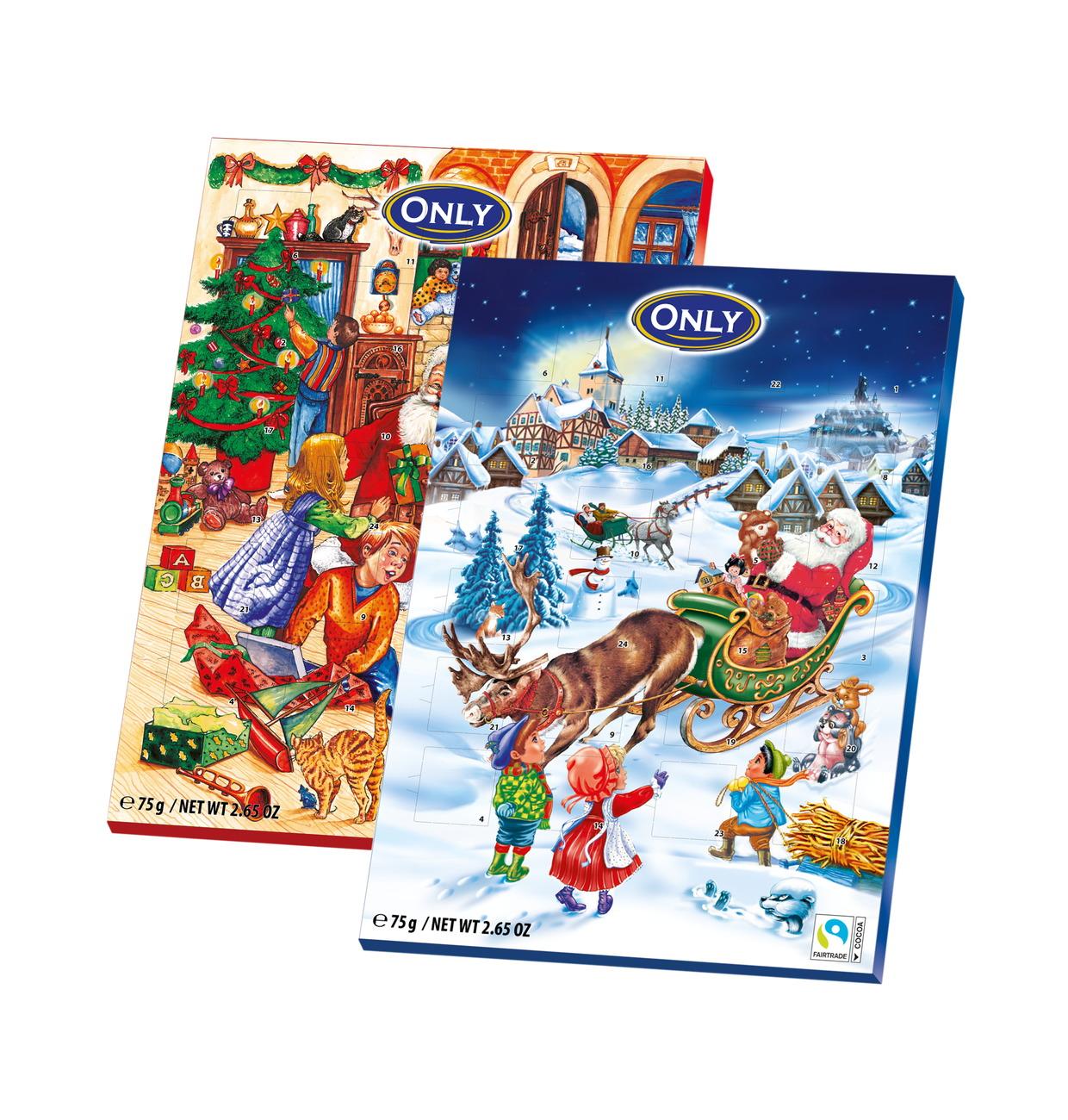 Calendario Avvento Cioccolato.Gunz Calendario Dell Avvento Con Cioccolato Al Latte 75g